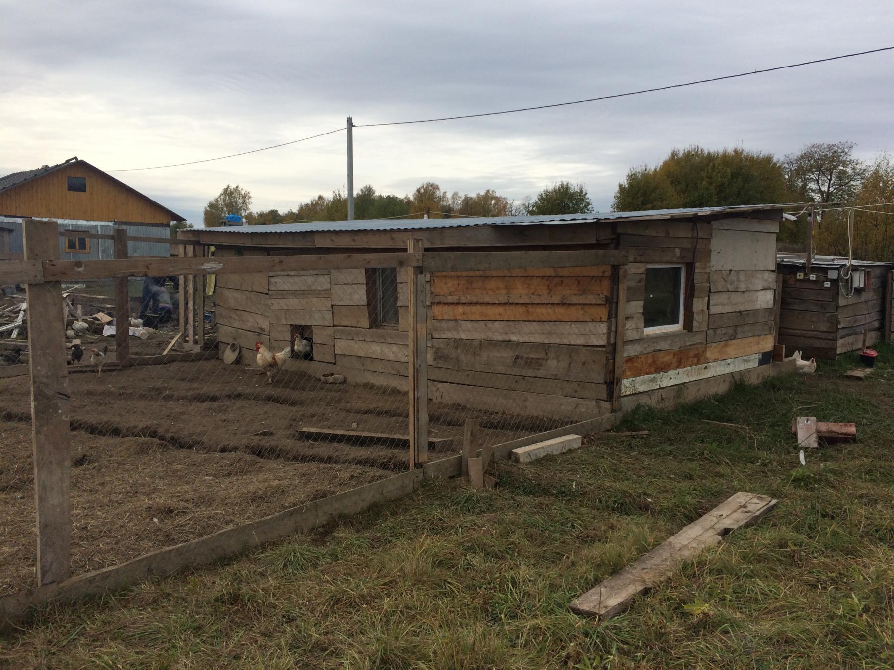 Закончили постройку помещения для кур-несушек.